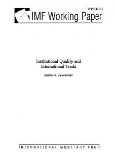 Institutional Quality and International Trade