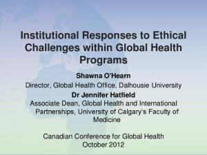 Institutional Responses to Ethical Challenges within Global Health Programs