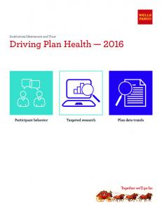 Institutional Retirement and Trust Driving Plan Health Participant behavior Targeted research Plan data trends