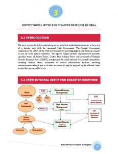 INSTITUTIONAL SETUP FOR DISASTER RESPONSE IN INDIA