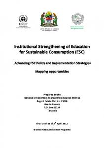Institutional Strengthening of Education for Sustainable Consumption (ESC)