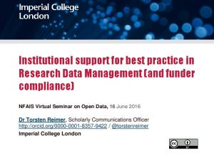 Institutional support for best practice in Research Data Management (and funder compliance)