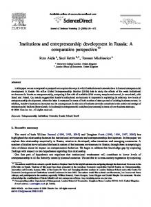 Institutions and entrepreneurship development in Russia: A comparative perspective