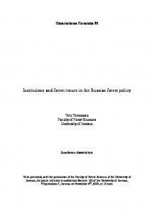 Institutions and forest tenure in the Russian forest policy