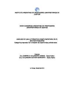 INSTITUTO ARGENTINO DE PROFESORES UNIVERSITARIOS DE COSTOS XXXVI CONGRESO ARGENTINO DE PROFESORES UNIVERSITARIOS DE COSTOS