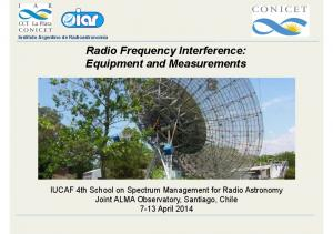 Instituto Argentino de Radioastronomía Radio Frequency Interference: Equipment and Measurements