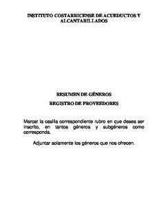 INSTITUTO COSTARRICENSE DE ACUEDUCTOS Y ALCANTARILLADOS