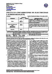 INSTITUTO COSTARRICENSE DE ELECTRICIDAD Y SUBSIDIARIAS (ICE)