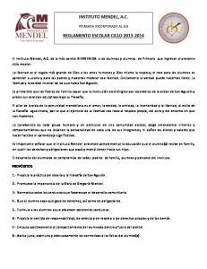 INSTITUTO MENDEL, A.C. REGLAMENTO ESCOLAR CICLO