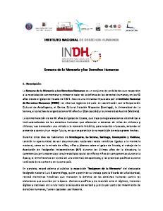INSTITUTO NACIONAL DE DERECHOS HUMANOS. Semana de la Memoria y los Derechos Humanos