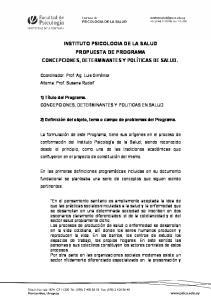 INSTITUTO PSICOLOGIA DE LA SALUD PROPUESTA DE PROGRAMA