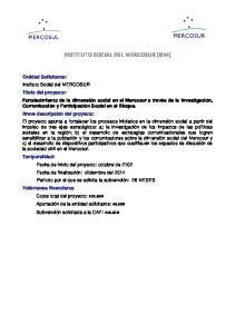 INSTITUTO SOCIAL DEL MERCOSUR (ISM)