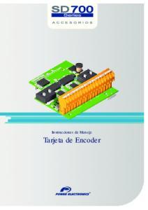 Instrucciones de Manejo. Tarjeta de Encoder