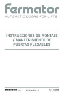 INSTRUCCIONES DE MONTAJE Y MANTENIMIENTO DE PUERTAS PLEGABLES