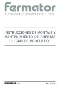INSTRUCCIONES DE MONTAJE Y MANTENIMIENTO DE PUERTAS PLEGABLES MODELO ECC