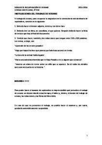 INSTRUCCIONES DEL TRABAJO DE VERANO