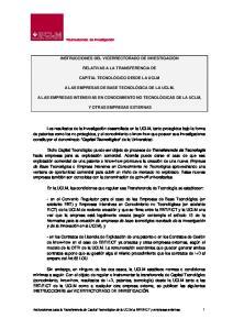 INSTRUCCIONES DEL VICERRECTORADO DE INVESTIGACIÓN RELATIVAS A LA TRANSFERENCIA DE CAPITAL TECNOLÓGICO DESDE LA UCLM