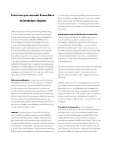 Instrucciones para autores del Sistema Abierto. de Contribuciones Originales