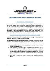 INSTRUCCIONES PARA EL IMPLANTE DE MICROCHIPS EN CANINOS