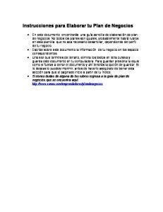 Instrucciones para Elaborar tu Plan de Negocios