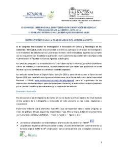INSTRUCCIONES PARA LA ELABORACION DEL ARTICULO CORTO