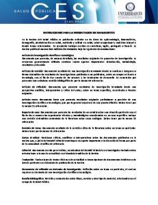 INSTRUCCIONES PARA LA PRESENTACION DE MANUSCRITOS