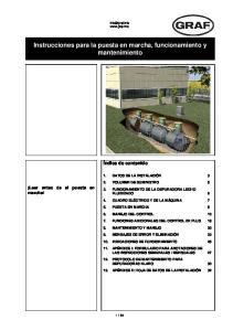 Instrucciones para la puesta en marcha, funcionamiento y mantenimiento