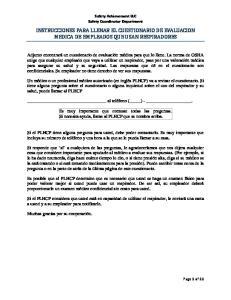 INSTRUCCIONES PARA LLENAR EL CUESTIONARIO DE EVALUACION MEDICA DE EMPLEADOS QUE USAN RESPIRADORES