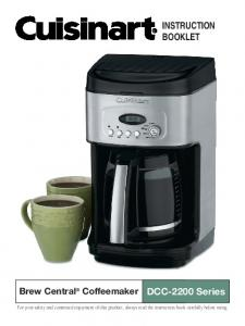 INSTRUCTION BOOKLET. DCC-2200 Series. Brew Central Coffeemaker