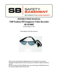 INSTRUCTION MANUAL 720P Fashion HD Sunglasses Video Recorder SB-SG900F