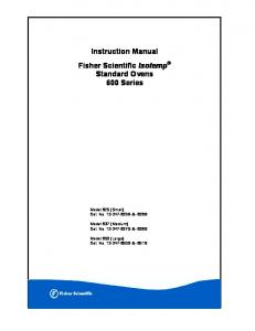 Instruction Manual Fisher Scientific Isotemp Standard Ovens 600 Series
