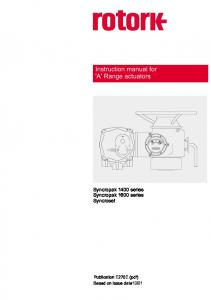 Instruction manual for 'A' Range actuators