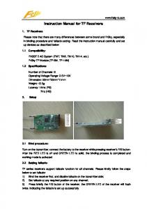 Instruction Manual for TF Receivers