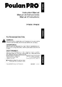 Instruction Manual Manual de Instrucciones Manuel d'lnstructions WARNING: ADVERTENCIA: AVERTISSEMENT: