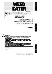 Instruction Manual Manual de Instrucciones Manuel d Instructions