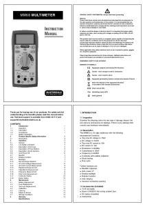 INSTRUCTION MANUAL MM68 MULTIMETER