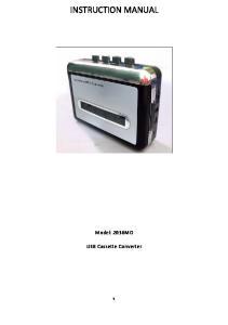 INSTRUCTION MANUAL. Model: 2036MO. USB Cassette Converter