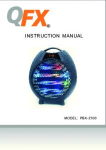 INSTRUCTION MANUAL MODEL: PBX-2100