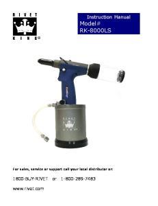 Instruction Manual Model# RK-8000LS