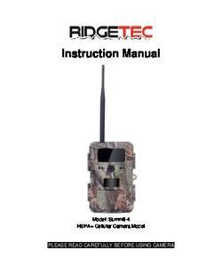 Instruction Manual. Model: Summit-4 HSPA+ Cellular Camera Model PLEASE READ CAREFULLY BEFORE USING CAMERA