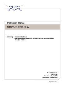 Instruction Manual Rotary Jet Mixer IM 20