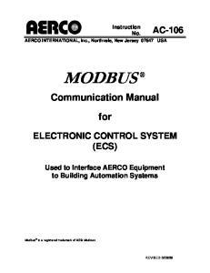 Instruction No. AERCO INTERNATIONAL, Inc., Northvale, New Jersey USA MODBUS. Communication Manual. for ELECTRONIC CONTROL SYSTEM (ECS)