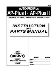INSTRUCTION PARTS MANUAL