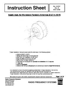 Instruction Sheet RADIO FREQUENCY SYSTEMS. Install. Instr. for Microwave Parabolic Antennas 3.7 m (12 ft) No Rev