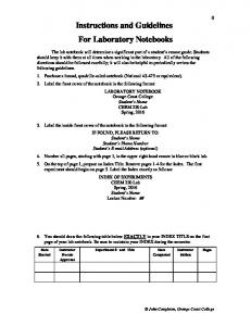 Instructions and Guidelines For Laboratory Notebooks