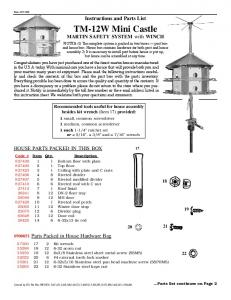 Instructions and Parts List. TM-12W Mini Castle. MARTIN SAFETY SYSTEM with WINCH