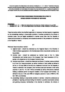 INSTRUCTIONS CONCERNING PROCEEDINGS RELATING TO CROSS-BORDER PROVISION OF SERVICES