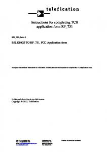 Instructions for completing TCB application form RF_731