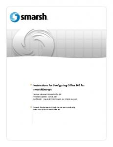 Instructions for Configuring Office 365 for smarshencrypt