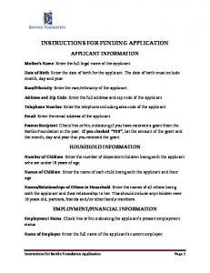 INSTRUCTIONS FOR FUNDING APPLICATION